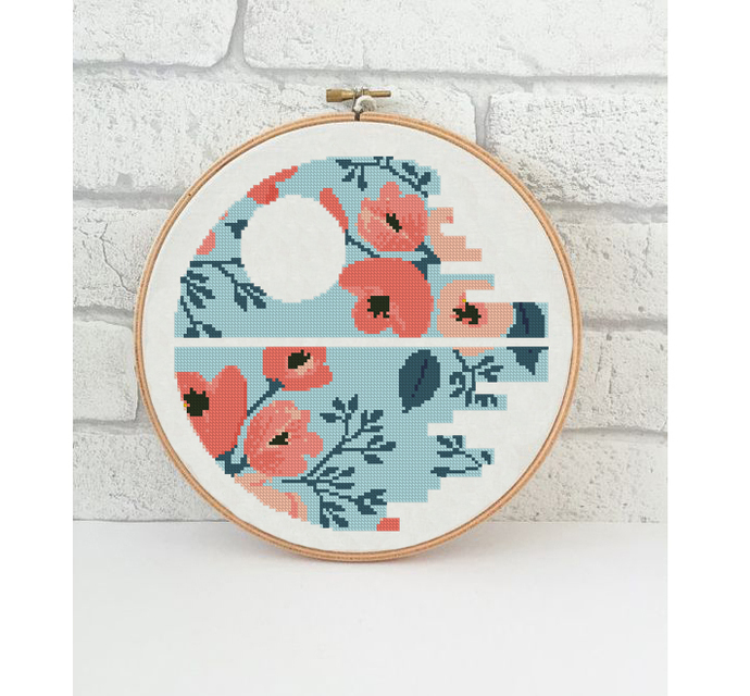 Floral star cross stitch pattern flowers on blue silhouette wall decor easy home