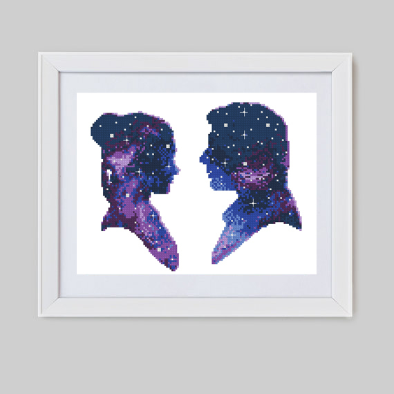 Galaxy characters cross stitch pattern cosmos starry night silhouette easy