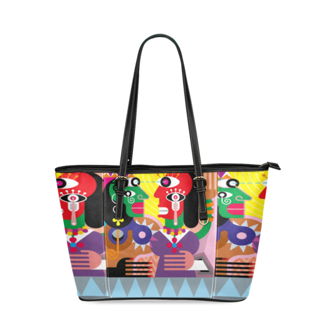 Dancing Gypsy Women Leather Tote Bag, Women's Tote Bag