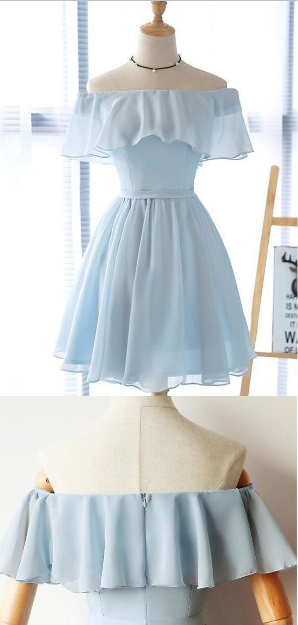 blue homecoming dresses strapless mini dress chiffon school event dress off the