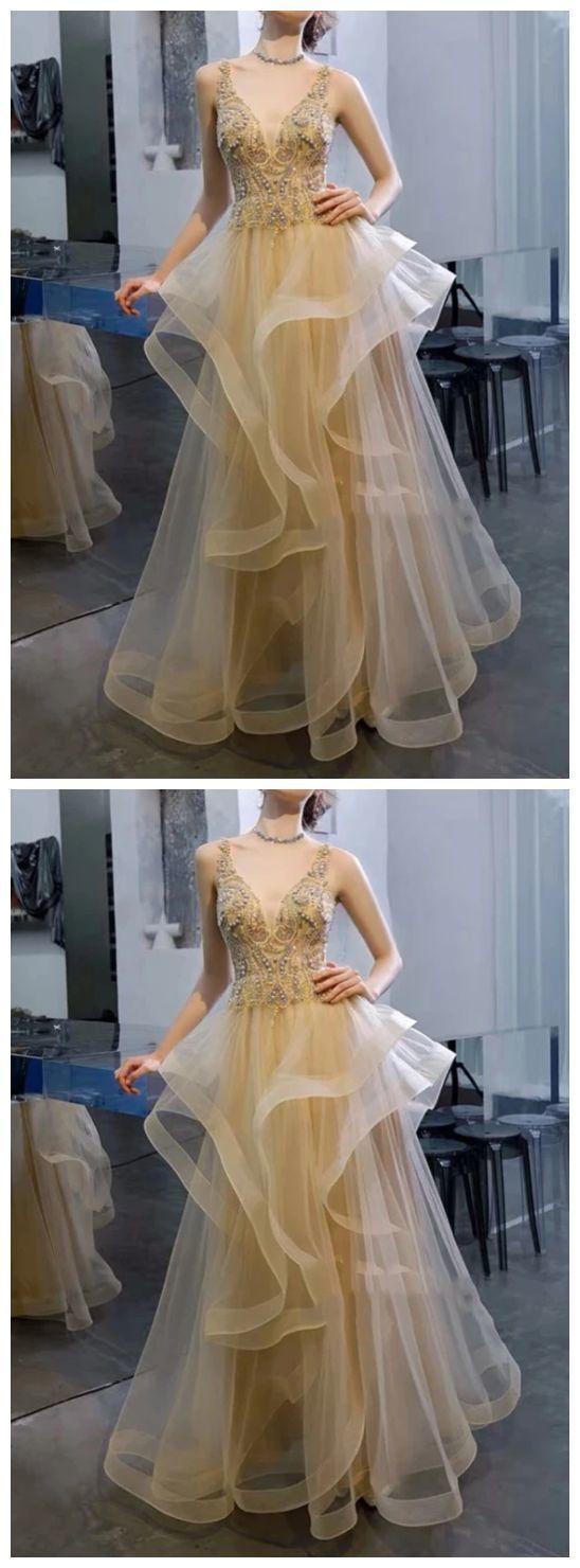 champagne sleeveless v-neck tulle lace applique full length women dress tulle