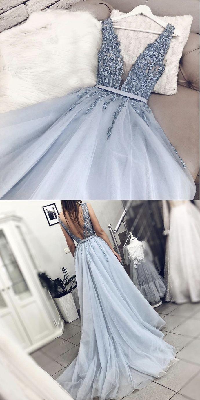 sleeveless deep v-neck tulle long evening dress party dress applique backless