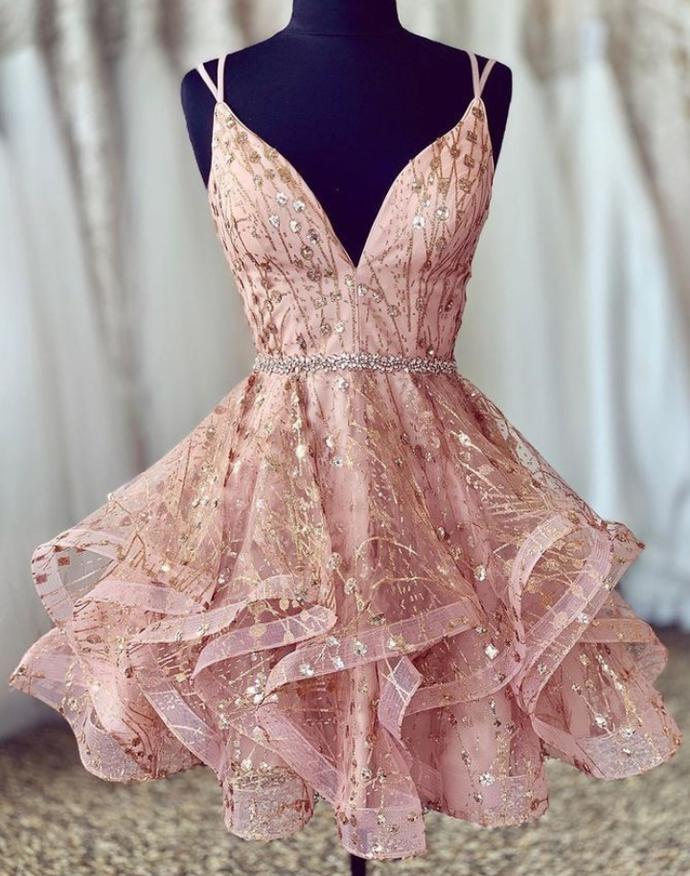 beauty pink sleeveless racer-back party/dresses spaghetti-straps tulle beaded