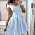 simple short blue off the shoulder women dresses spaghetti-straps mini evening