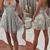 charming gray sleeveless backless mini evening dresses spaghetti-straps v-neck