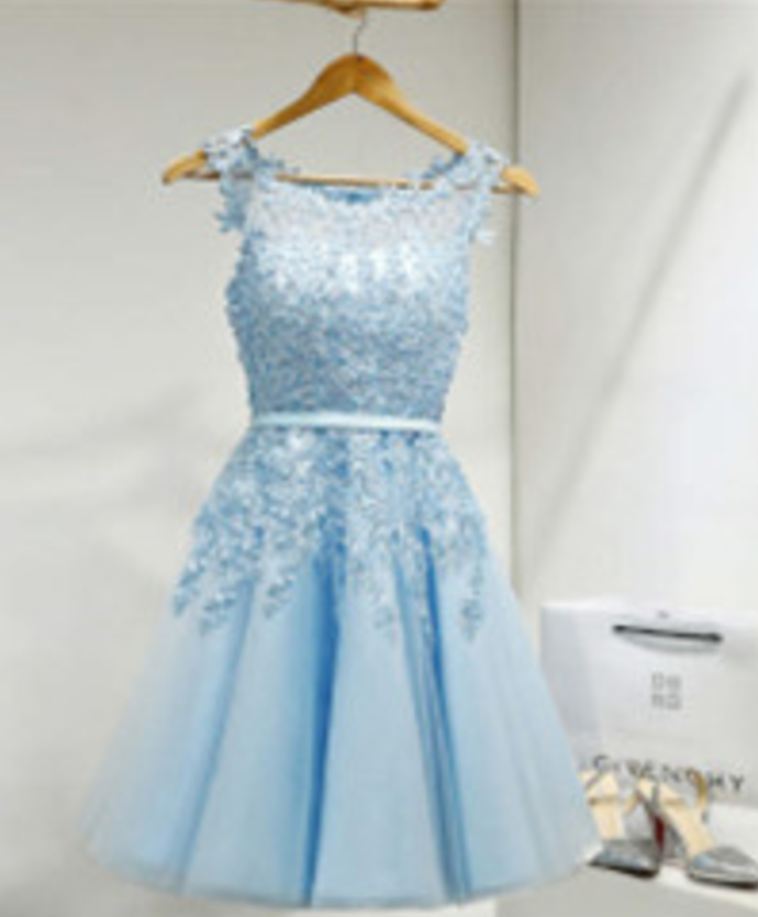 blue sleeveless a-line applique mini evening dress party dress tulle lace jewel