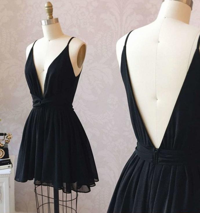 black sleeveless v-neck backless short evening dresses party dresses chiffon