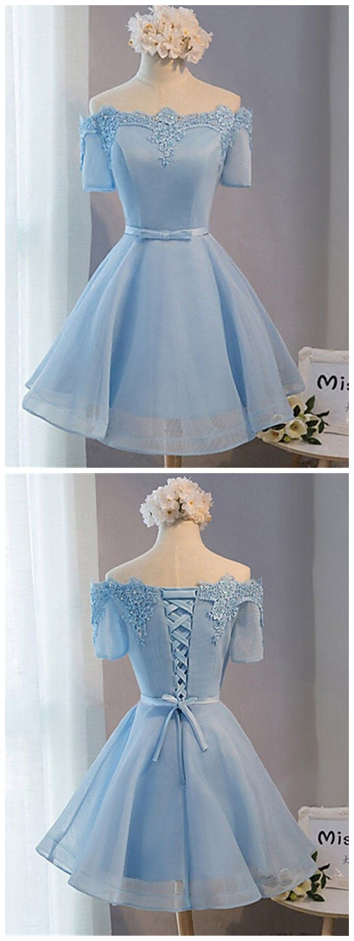 blue off the shoulder short sleeves strapless applique short evening dresses
