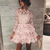 pink long sleeves jewel lace school event dress short evening party dresses