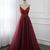 Burgundy Beaded Tulle Straps Long Party Dress, New Formal Gown 2020