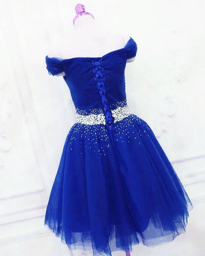 Beautiful Royal Blue Tulle Short Homecoming Dress, Cute Short Prom Dresse