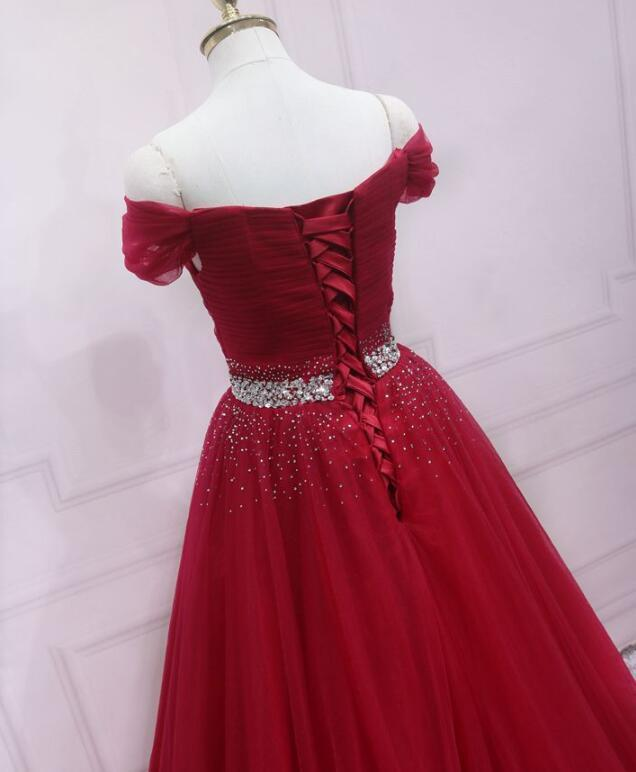Lovely Red Long Party Dress, Sweetheart Prom Dress 2020