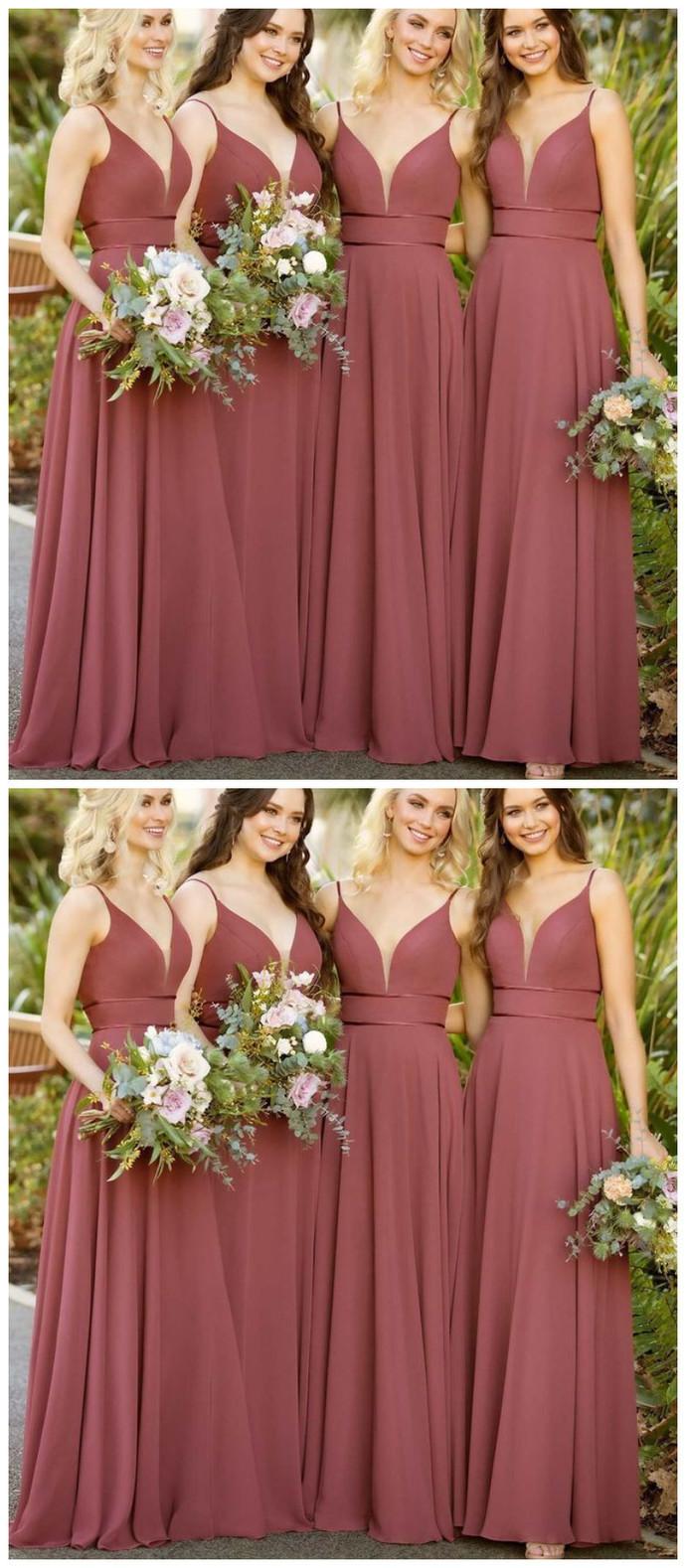 simple light sleeveless v-neck spaghetti-straps floor length bridesmaid dresses