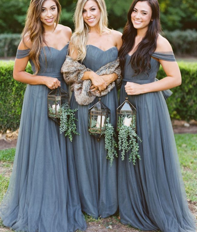 off the shoulder sweetheart short sleeves tulle strapless full length bridesmaid