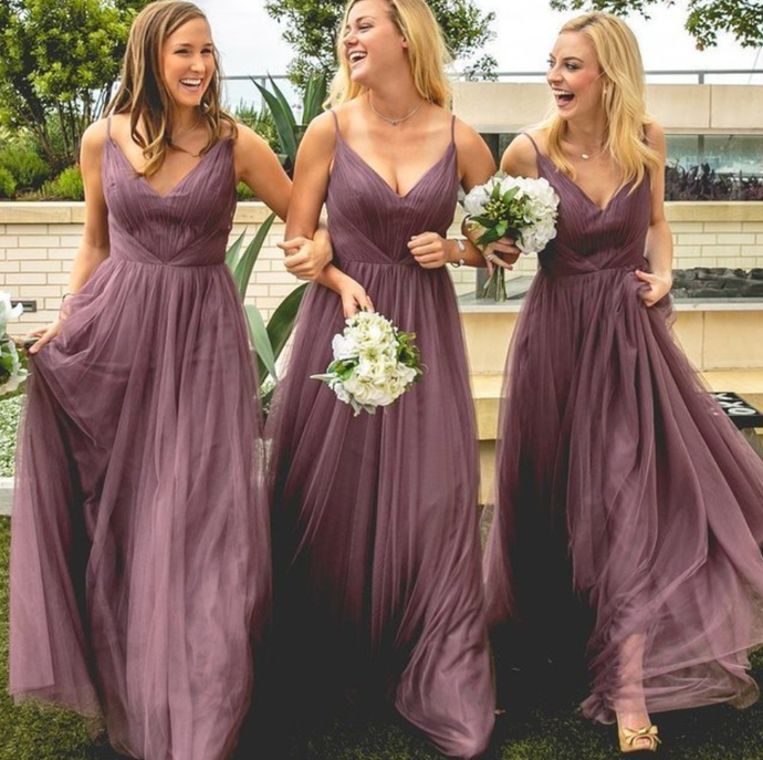light tulle sleeveless v-neck spaghetti-straps floor length bridesmaid dress