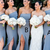 sky blue strapless off the shoulder a-line full length evening dresses