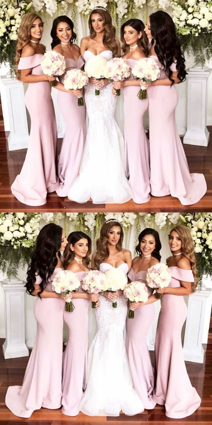 simple light pink sleeveless satin off the shoulder strapless short sleeves long