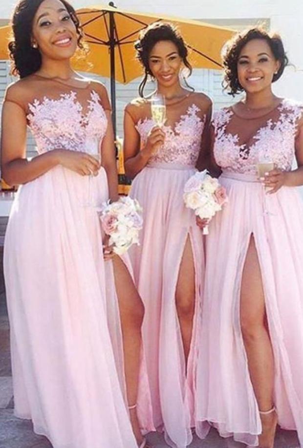 pink applique sheer-straps cap sleeves v-neck slit-skirt chiffon applique floor