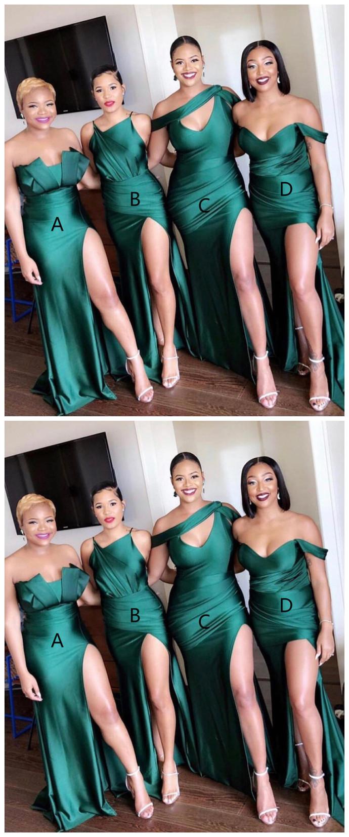 simple light green slit-skirt satin floor length evening dresses full length