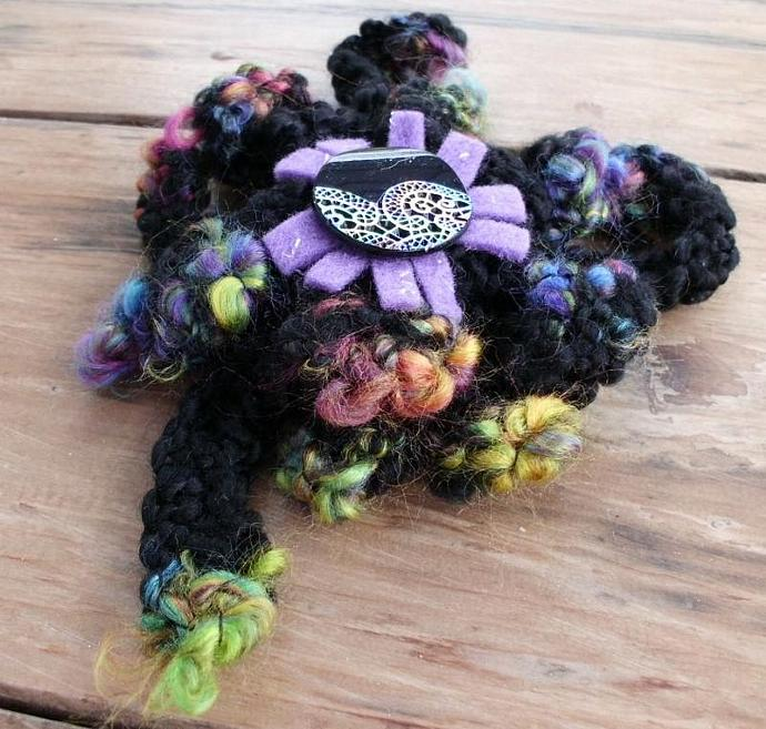 Big Black Crocheted Brooch Pin with Rainbow Tips