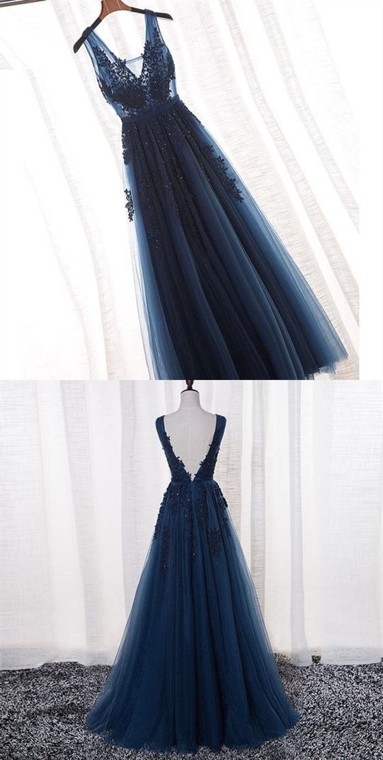 Navy Blue Tulle Long Bridesmaid Dress, A-line Lace Applique Prom Dress