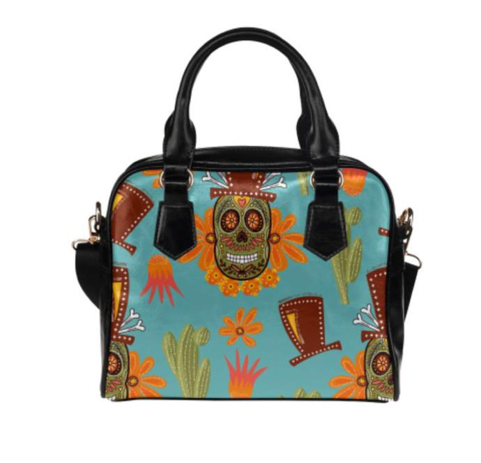 Sugar Skull Shoulder Handbag, Women's Handbag