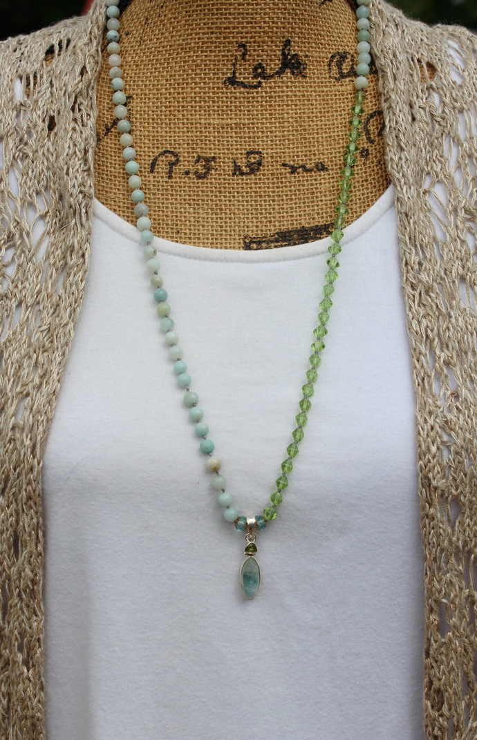 The Comforting Necklace Minimalist Long Beaded Necklace with Green Moonstone