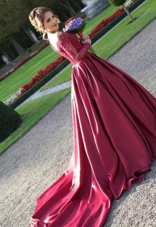 Dark Wine Red Long Sleeves Satin with Lace Party Dress, Burgundy Evening Gown