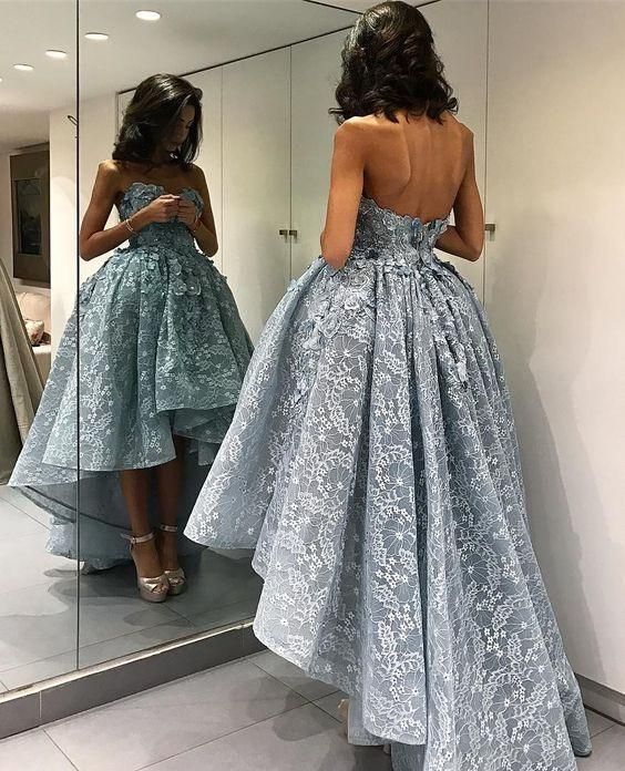 blue lace prom dresses long 2020 high low applique elegant sweetheart neck prom