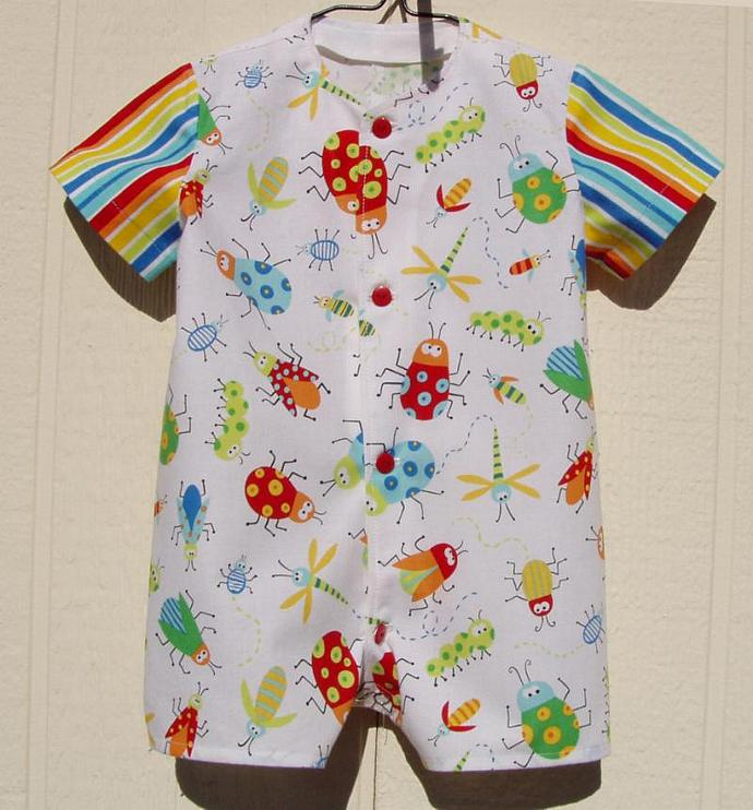 Boys Romper of Colorful Bugs, 6 Months