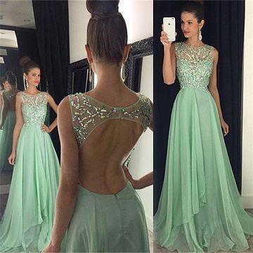 mint green prom dresses long beaded sleeveless elegant sparkly simple cheap prom