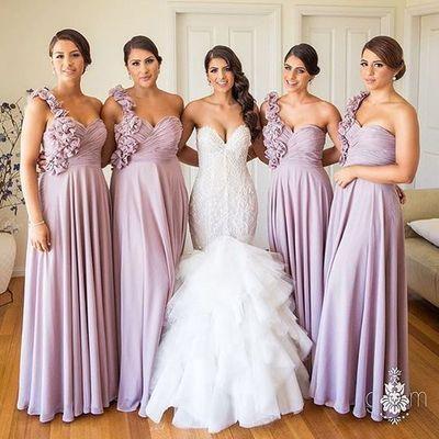 one shoulder bridesmaid dresses long chiffon dusty pink floral elegant cheap