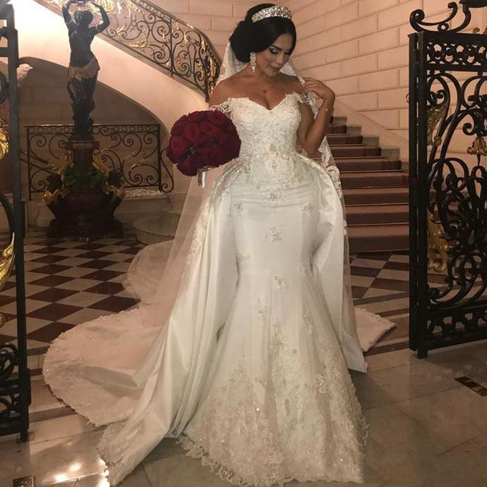off white wedding dresses for bride detachable skirt lace applique beaded