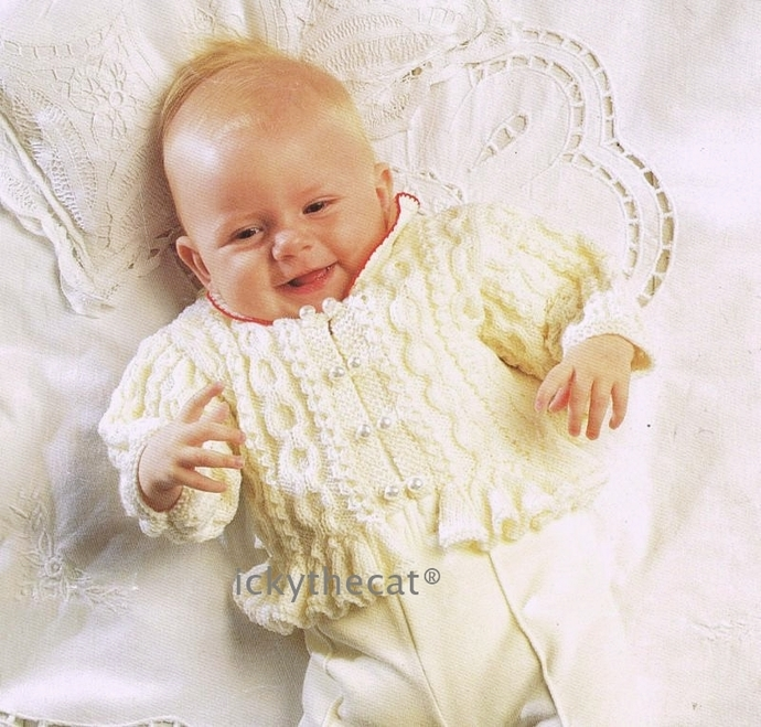 Instant PDF Digital Download Vintage Knitting Pattern Baby Childrens Ruffle Edge