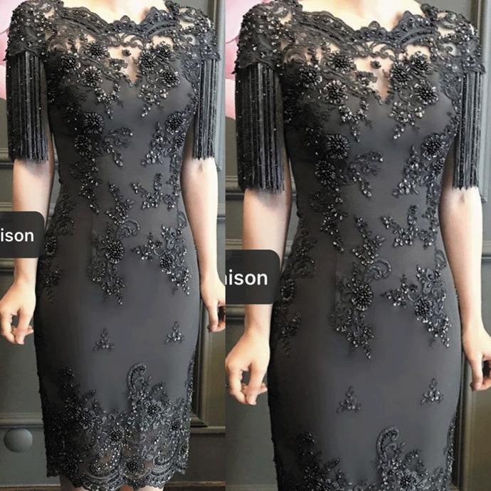 tassel evening dresses 2020 lace applique beaded knee length modest mermaid