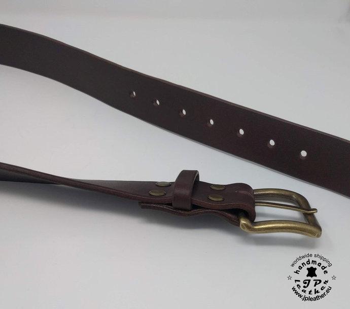 """Handmade Brown fullgrain vegetable tanned cowhide leather belt 38mm (1.5"""") /"""