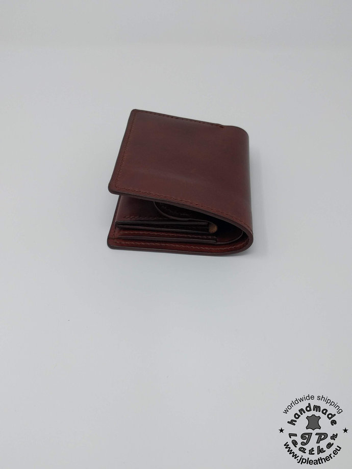Handmade leather wallet - fullgrain veg-tan cowhide - brown or black.