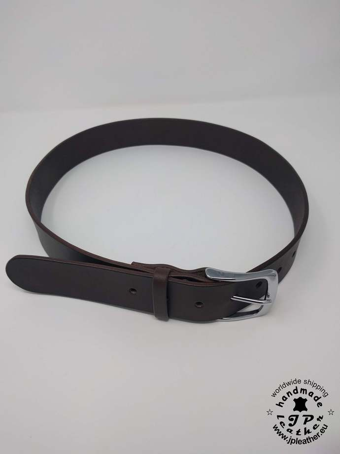"Handmade Brown fullgrain vegetable tanned cowhide leather belt 38mm (1.5"") /"