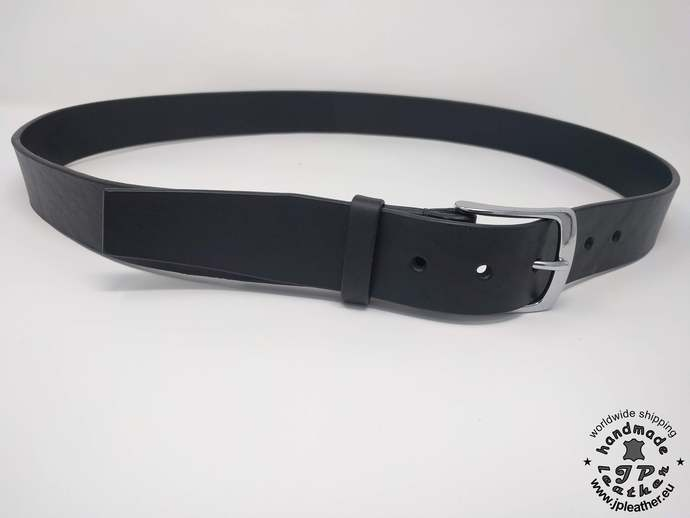 "Handmade  leather belt 38mm (1.5"") / 3.5-4 mm thick - with saddle stitched"