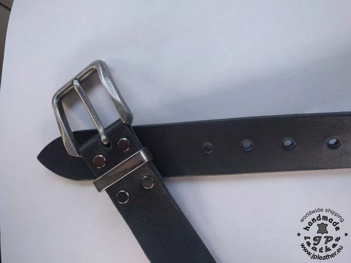 Handmade leather belt 38mm (1.5 In) / 3.5-4mm - black - Old silver buckle -