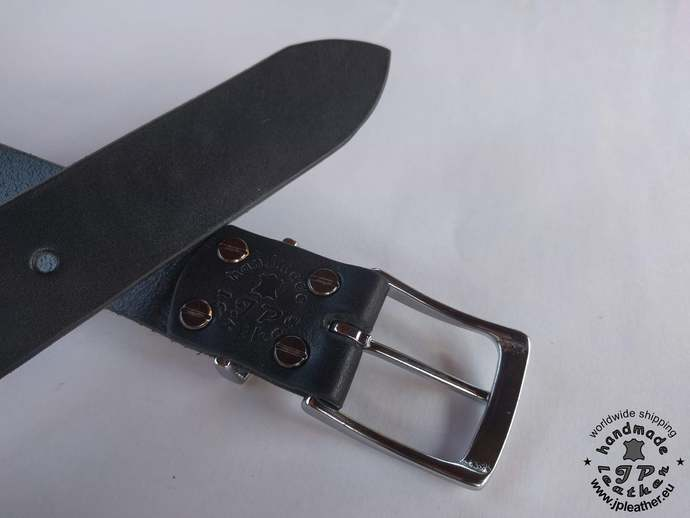 Handmade leather belt 38mm (1.5 In) / 3.5-4mm - black - solid brass based buckle