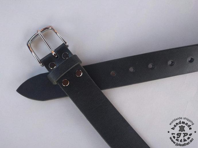 Handmade leather belt 38mm (1.5 In) / 3.5-4mm - black - solid brass based buckle