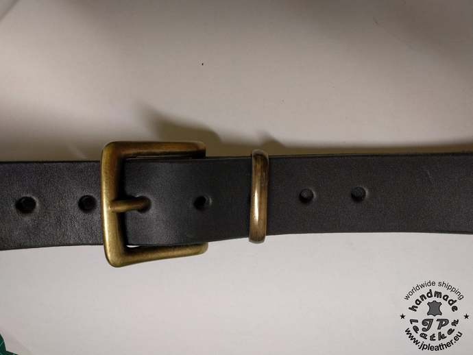 Handmade leather belt 38mm (1.5 In) / 3.5-4mm - black - Old brass buckle - metal