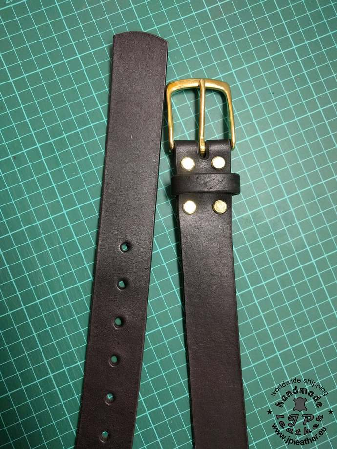 Handmade leather belt 38mm (1.5 In) / 3.5-4mm - black - solid brass buckle  -