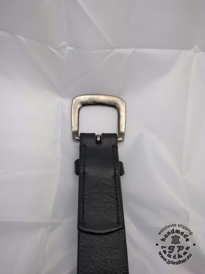 "Handmade leather belt * 38mm /1.5"" * Black Nickel (matte silver) buckle is"