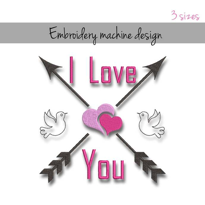 Embroidery machine designs I love you wedding pattern heart marrried instant