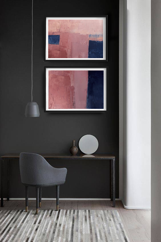 contemporary art, home decor, wall art abstract, monochrom painting, SET OF 2,