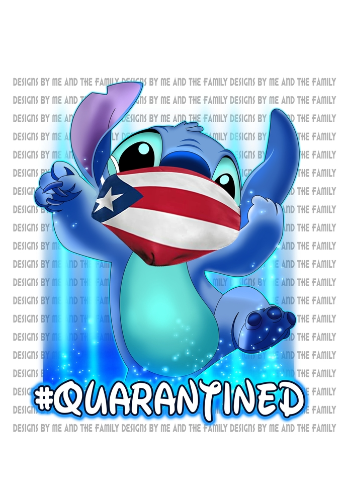 Stitch Quarantined, Puerto Rico Flag mask,we are all quarantined here,