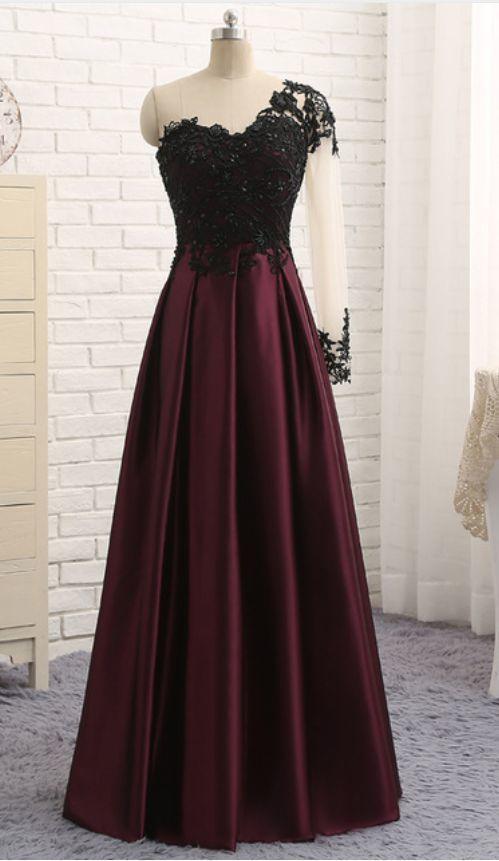 Burgundy One Shoulder Long Party Dress, Satin Wedding Party Dress