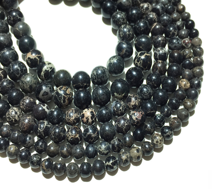 Natural Round Black Imperial Sediment Jasper Healing Gemstone Loose Beads